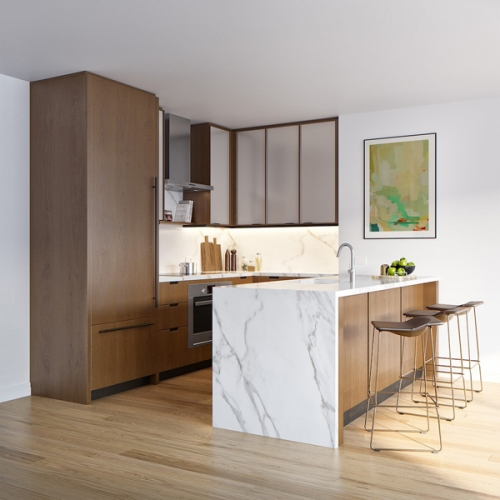 Modern design solid wood kitchen cabinet project in Oslo,Norway